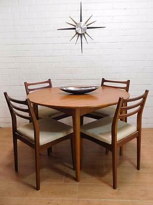 DANISH RETRO MID-CENTURY MODERN NEILS MOLLER DINING EXTENSION TABLE CHAIRS 5pce