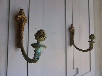 Pair antique French bronze ormolu curtain tie backs