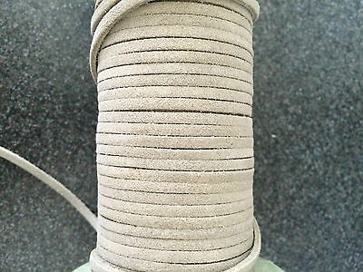 2M x 3MM STONE FLAT REAL SUEDE LEATHER CORD THONG LACE FREE P&P