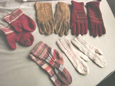 Vintage LOT Childrens Socks Gloves Leather  Mittens Mitts Assorted