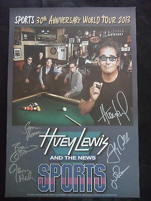 Huey Lewis & The News Signed World Tour Poster Signed By 6 Members Psa Guarantee