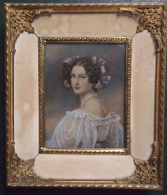 Framed Miniature Watercolour On Board Painting Portrait Of A Lady In Her Finest