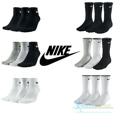 Nike 3 Pairs Mens Ladies Cushioned Crew Quarter Gym Socks Womens Cotton Sports