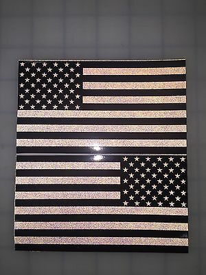 "5"" American Flag 3M Black REFLECTIVE (Black/White) Decal set USA"