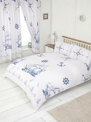 Nautical Sea Ships Boat Anchor Compass Duvet Cover Bedding Set Or Curtains