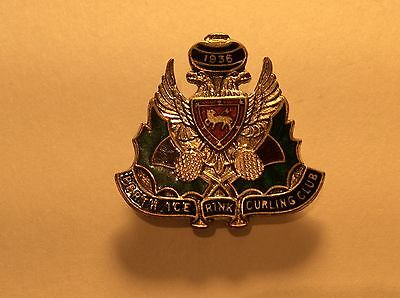 Perth Ice Rink Curling Club 1936 enamel badge/pin