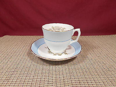 Crown Staffordshire Fine China Gray Blossoms Pattern Cup & Saucer Set