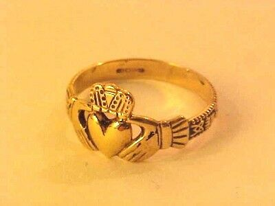 Beautiful,9 Carat Gold, Irish Hallmarked, Claddagh,friendship Signet Ring,size M