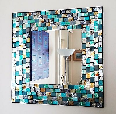 Square teal & gold mosaic wall mirror 38cm-hand made in Bali-NEW