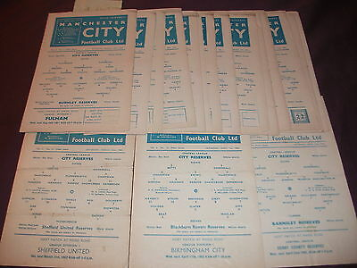 18 X MANCHESTER CITY HOMES RESERVES 1964-65 CENTRAL LEAGUE 18/21 ( 3 missing)