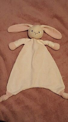 Marks and spencer m&s pink & white stripe bunny rabbit comforter blankie