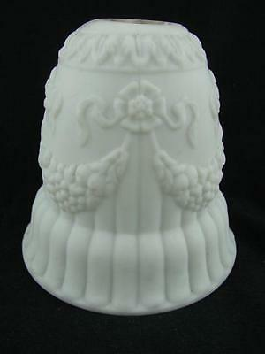 White Satin Glass Moulded Swag Decoration Wall Light /  Lamp Shade (4 Available)