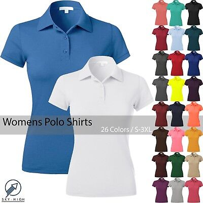 WOMENS POLO Shirts Premium Soft Short Sleeve Casual Uniform Extra Slim Fit Tee