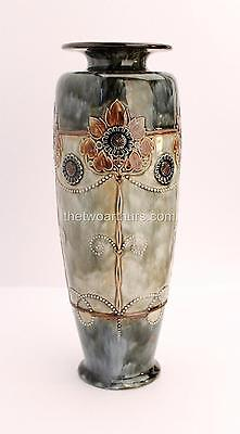 Large Royal Doulton Art Nouveau Lambeth Large Stoneware Vase (35cm high) (6621)