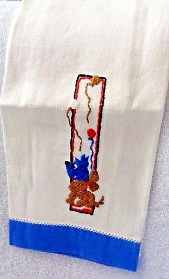 Scotty Scottie Blue And Brown Embroidered Blue Cloth Edge Hand Towel