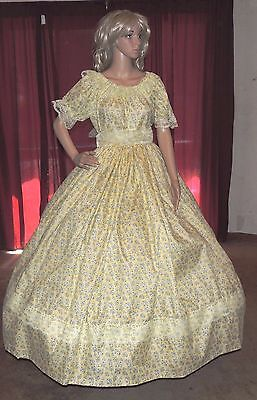 CIVIL WAR DICKENS SOUTHERN BELLE SASS PIONEER Yellow Floral Costume Dress Gown