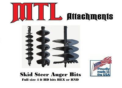 "MTL Attachments 48"" x 15"" skid steer HD Auger Bit w/2"" Hex -Free Shipping"