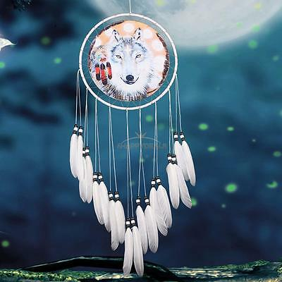 Large Handmade Dream Catcher Wolf With Feathers Home Hanging Decor Decor Craft