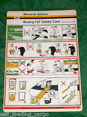 Monarch Airlines Germany Boeing 737 (200) Safety Card - Mint Condition - Rare!