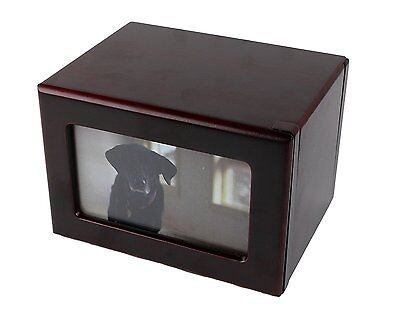 Cherry Wood Photo Pet Urn by Midlee Holds 40 cubic inches