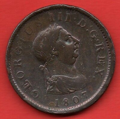 1807 King George Iii Copper Penny Coin.