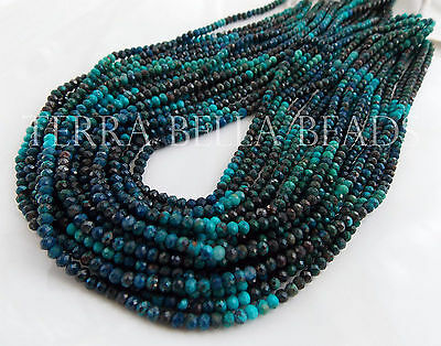 """12"""" strand CHRYSOCOLLA faceted gem stone rondelle beads 3mm blue teal"""