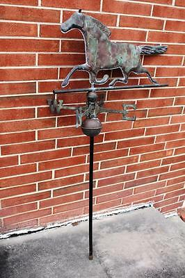 Beautiful Antique Copper Running Horse Weathervane w/Directionals, Balls & Pole
