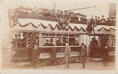 RP Postcard.  Decorated Trams & VIP's.  LUTON.