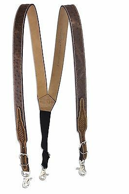 Nocona Men's Ostrich Leather Suspenders w/ Basket Weave Highlights - Brown - MED