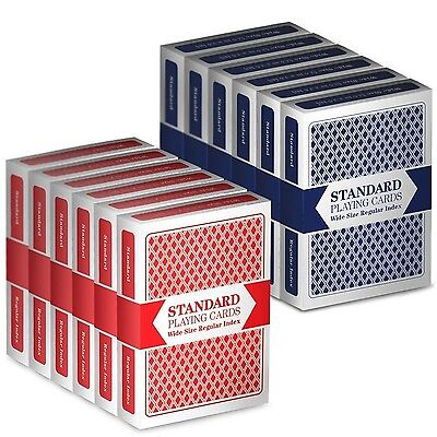 Brybelly 12-Deck Wide-Size Regular Index Playing Cards 6-Red/6-Blue