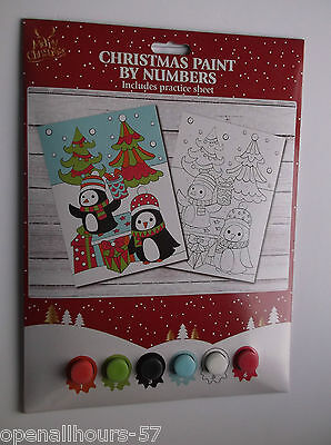 Merry Christmas Paint Painting by Numbers - PENGUIN DESIGN - kids xmas fun