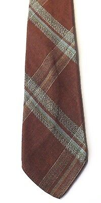 Vintage 1950s TOOTAL GREEN QUALITY NECK TIE Brown Multi Plaid Weave FREE P&P