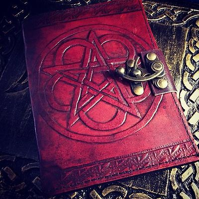 Pentagram Book of Shadows Blank Journal Embossed Leather Wicca Pagan Supplies