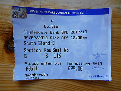 INVERNESS CALEDONIAN THISTLE v CELTIC – 09/02/13 – USED TICKET – VGC