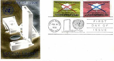 1972 United Nations  Set of 2 Stamps  On Official First Day Cover