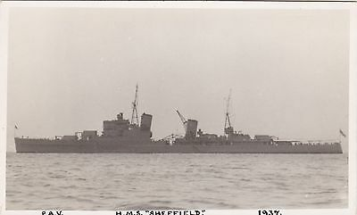 "Royal Navy Real Photo. HMS ""Sheffield"" Town-class cruisers. Served WW11. c 1937"