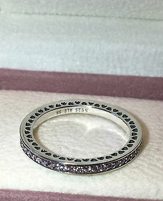 PANDORA Pink RADIANT HEARTS OF PANDORA RING ,S925 ALE STERLING SILVER,ALL SIZE