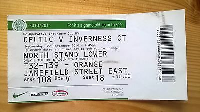 CELTIC v INVERNESS CALEDONIAN THISTLE - 22.9.10 – LEAGUE CUP – USED TICKET
