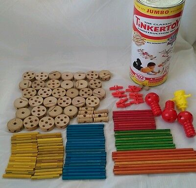 Classic TinkerToy 129 mixed lot w Canister Wheels Rods Robot Arms Face Plate
