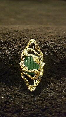 Antique Victorian Brooch Sash Pin Snakes Serpents Green Jade Chrysoprase