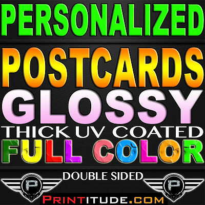 """1000 PERSONALIZED 4""""x3"""" POSTCARDS FLYERS Full Color GLOSSY 3X4 2 Side 4x3 custom"""