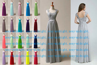 Long Lace Evening Formal Party Ball Gown Prom Bridesmaid Dress Size 6~18 New