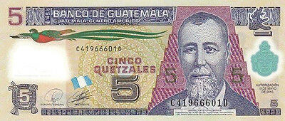 Banknote Guatemala 5 Quetzales (2010) - UNC (Polymer)