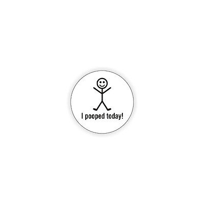 "I Pooped Today (6 Pack) Hard Hat Printed Sticker (size: 2"" color: White/Black)"