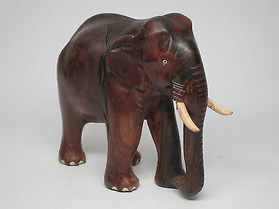 Vintage Indian Elephant Figurine Carved Wood Mahogany Dark Wood Bone