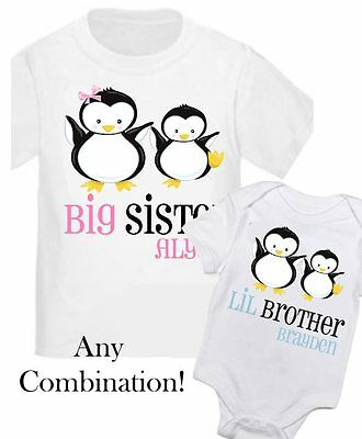 2 Personalized Big Sister Penguin Little Brother T-Shirt ANY SIZE / YOUR NAME