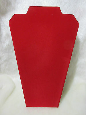 """2 Red Velvet 12"""" Tall Necklace Jewelry Display Easel Neck Stand Valentine's New"""