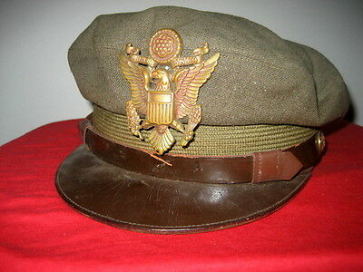 US Army Officer's Service Cap,large Cap badge,1940s