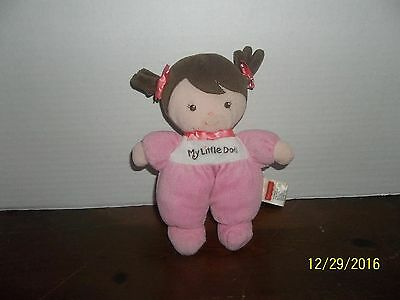 Fisher Price My Little Baby Doll Plush Pink Velour Brown Pigtails Hair
