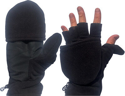 2 in 1 Convertible Fingerless Gloves and Cold Weather Mittens for Men Women